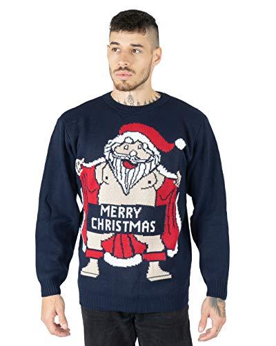 NOROZE Adultos Novedad Desnudo Santa Feliz Navidad De Punto Jersey Suéter para Hombre