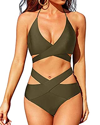 Design: Halter bikini top with unique bandage design makes you stand out in the crowd. High waisted cutout bikini bottom and not see-through lining offers medium coverage for butt. Feature: Adjustable straps tie at neck & back and provide perfect cus...
