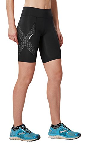 2XU Women\'s Mid-Rise Compression Shorts, Black/Dotted Reflective Logo, Small