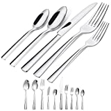 45-Piece Silverware Flatware Cutlery Set in Ergonomic Design Size and Weight, Durable Stainless...