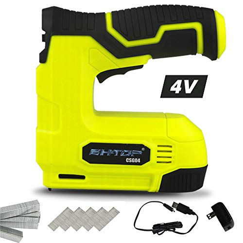 BHTOP Cordless Staple Gun, 4V Power Brad Nailer/Staple NailerElectric Staple with Rechargeable USB Charger, Staples and Brad Nails Included