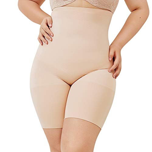 DELIMIRA Damen Miederhose mit Bein Miederpants Hohe Taille Bauch Weg Formender, Beige, 44