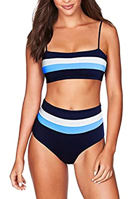 2 piece color block stripes bathing suit Adjustable and removable strap High waist bottom matching Removable soft cup support Hand and machine washable