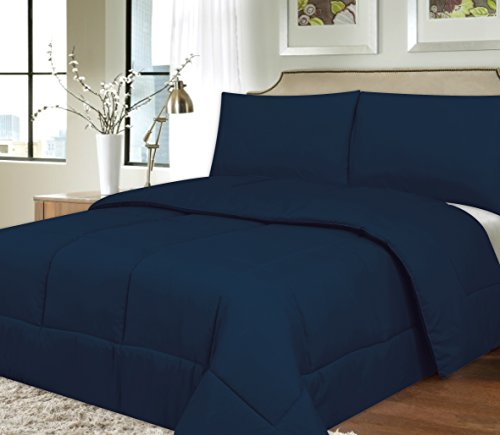 Sweet Home Collection Down Alternative Polyester Comforter Box Stitch Microfiber Bedding - Queen, Navy