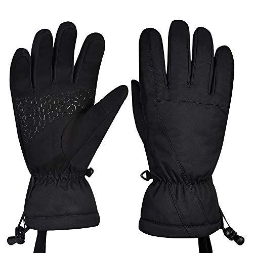 Guanti da sci, guanti da neve impermeabili antivento invernali touchscreen guanti uomo donna - nero - Small