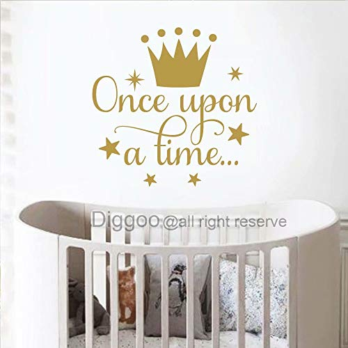 Diggoo Once Upon A Time Wall Decal Quote Princess Crown Wall Decal Princess Room Decor Girls Nursery Wall Art Sticker (Gold,14