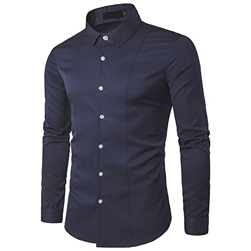 Chunmei Camicia Uomo Slim Fit Camicie Business Tailored Fit da Uomo con Collo Kent, A Maniche Lunghe Shirt Formale Shirt Elastica bamb Fibra per Uomo Feste Matrimonio d'Affari Maglietta L