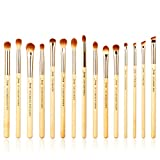 Jessup Brand - 15 pinceles de bambú de belleza, juego de maquillaje profesional, pinceles de maquillaje, sombra de ojos, ...
