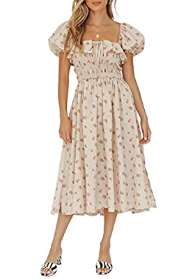 Material: Cotton Blend Midi Dress with Ruched Bust and Puff Sleeves Square Neckline Floral Print Ruffle Vintage Cotton Boho A-Line Dress Cold hand wash only. Do not tumble dry Please Refer to the Product Description for Detailed Size Information Belo...
