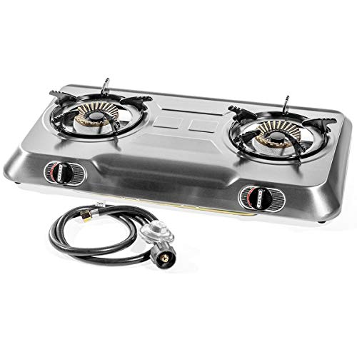 XtremepowerUS Deluxe 2 Burner High Pressure Stainless Steel Propane Gas Range Stove Cooktop Auto Ignition Camping