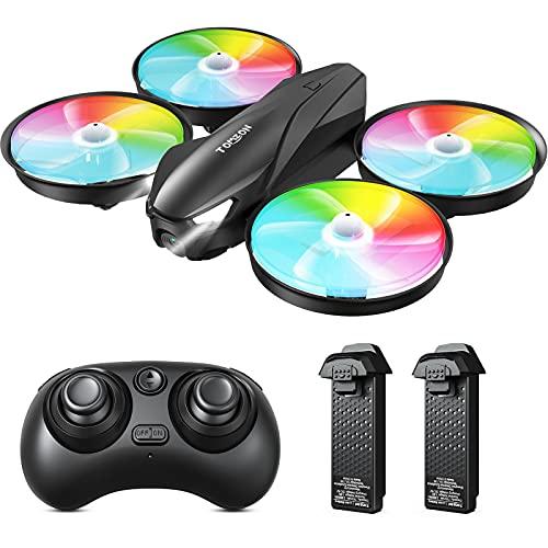 Tomzon Drone per Bambini, A31 Mini Drone con Telecamera LED Colorati, modalit Senza Testa, Decollo / Atterraggio con Un Clic, 3 velocit Regolabile, Drone Tascabile per Principianti, 2 Batterie