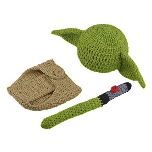 Tongdejing - Set di costume da bambino, per compleanno, morbido, realizzato a mano all'uncinetto, per la fotografia e il pannolino, con cappello da Yoda, ideale come regalo per la doccia