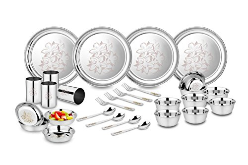 Classic Essentials Stainless Steel Peacock Dinner Set, 61-Pieces, Silver Heavy Gauge with Permanent...