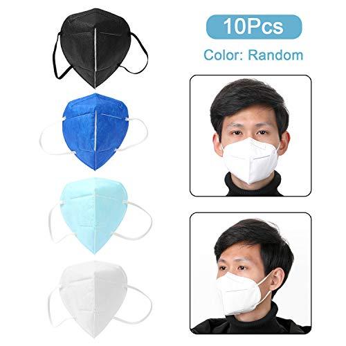Decdeal- 10 Pz Protezione per Il Viso Monouso KN95/FFP2,95% Filtrazione, Protezione per Il Viso Protettive in Tessuto Non Tessuto per Particelle di Polvere PM2.5