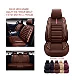 OS-001 Leather Car Seat Covers, Faux Leatherette Automotive Vehicle Cushion Cover for Cars SUV Small Pick Up Truck Universal Fit Set Compatible with Toyota-Nissan-Honda-Jeep-Subaru (BROWN, FULL SET)