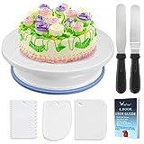 WisFox Tortenplatte drehbar Tortenständer Kuchen Drehteller Cake Decorating Turntable mit 2 Stück Winkelpalette Set, 3 Stück Icing Smoother, für Backen Gebäck, Zuckerguss, Mustern 28x7 cm Weiß
