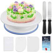 WisFox Decorazione la Torta Kit di Utensili da Decorazione con 2 set di coltelli, Set di 3 glassa liscia perfetta per torte, torte e crostate