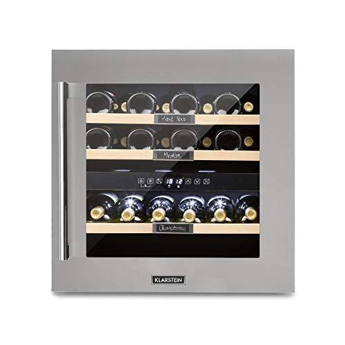 Klarstein Vinsider 36 - Cantinetta Vino, Cantinetta ad Incasso, con Lavagna, 2 Zone di Raffreddamento, Temperatura Regolabile 5-22C, 94 L, 36 Bottiglie, Classe G, Acciaio Inox
