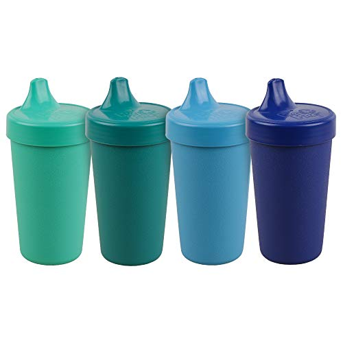 Re-Play Made in The USA 4pk No Spill Sippy Cups for Baby, Toddler, and Child Feeding - Sky Blue, Aqua, Navy, Teal (True Blue+)