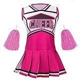 yolsun Cheerleader Costume for Girls Halloween Cute Uniform Outfit (6-7 Years, Rosy)