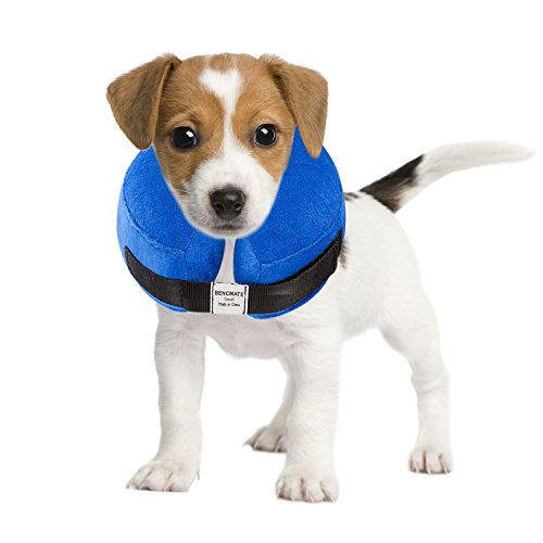 BENCMATE Protective Inflatable Collar for Dogs and Cats - Soft Pet Recovery Collar Does Not Block Vision E-Collar(Small)