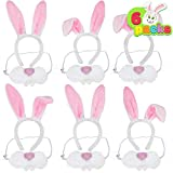 6 Packs Bunny Nose and Ears Headband Plush Fabric Rabbit Costume Accessories Kit for Kids Easter Party Supplies Cosplay, Pretend Dress-Up Party, Egg Hunt Activities and Easter Gift (One Size Fits All)