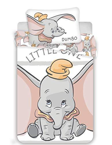 Disney Dumbo - Biancheria da letto per bambini, 2 pezzi, 100% cotone, dimensioni: 100 x 135 cm, 40 x 60 cm, ko-Tex Standard 100