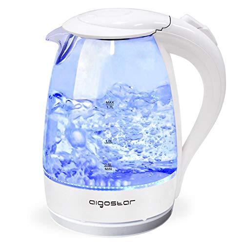 Aigostar Eve 30GON - Bollitore d'acqua in vetro borosilicato con illuminazione a LED. 2200W, 1.7L e...