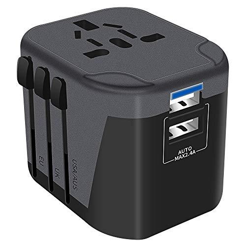 Reiseadapter Reisestecker Universal 224 Ländern Travel Adapter, Weltweit mit 2 USB Ports + AC Steckdosenadapter Steckdose International für USA Europa UK Asia usw