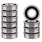 XiKe 10 Pack Flanged Ball Bearing ID 3/4' x OD 1-3/8', Lawn Mower, Wheelbarrows, Carts & Hand Trucks Wheel Hub for Suitable, Replacement for Ariens, MTD, JD, Snapper, Toro, Marathon & AYP Etc.