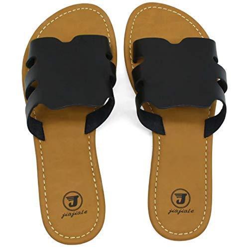 JIAJIALE Sandalias Niña Mujer Verano 2020 Cuña Baratas con Planas Ortopedicas Calzado para Comodas Playa Biomecanics Zapatos Mules Mujer Romanas Zuecos Negro Talla 36