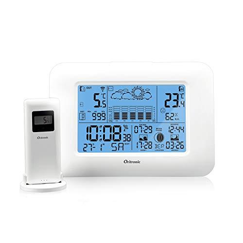 Oritronic Stazione Meteo, Indoor Outdoor Monitor Temperatura Termometro Digitale Igrometro Sensore Remoto, Nero