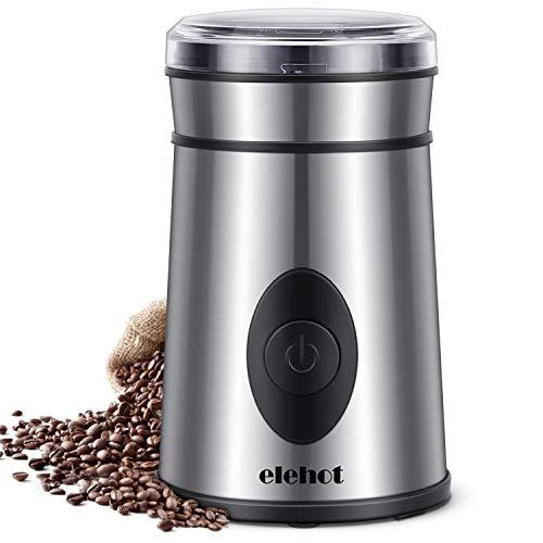Kaffeemühle Elektrische Kaffeemühle mit Edelstahl Schlagmesser für Kaffeebohnen Nüsse Gewürze Getreide von ELEHOT (Silber)