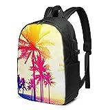 XCNGG Silueta de Palmeras en la Puesta de Sol Tropical Beach Travel Laptop Mochila College School Bag Mochila Informal con Puerto de Carga USB