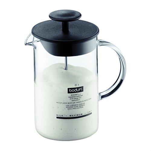 Bodum Latteo - Batidor de leche con asa de cristal, 0,25 l, color negro