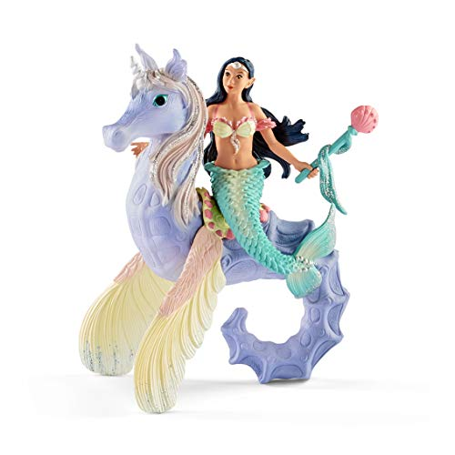 Schleich bayala Sparkly Mermaid Princess Toy Isabelle & Seahorse Set for Kids Ages 5-12