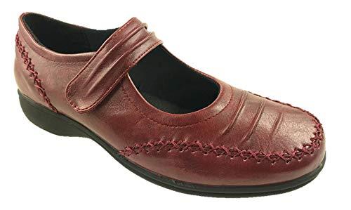 Mary Jane - Zapatillas de piel sintética para mujer, talla 4-9, color Rojo, talla 40 EU