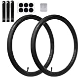 Calvana (2 Pack 26'' x 1.75/2.125 Replacement Inner Tubes with Tire Leveler and Round Patches for Bike with 26 Inch Tires. Made of Heavy Duty, Thick Butyl Rubber.