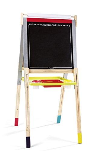 Janod- Lavagna di Legno con Piedini Regolabili, Graffiti, Multicolore, J09601