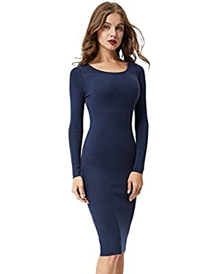 Item Type: Women's Long Sleeves Round Neck Knitted Stretch Knee Sweater Dress,We have arrived a new style sweater dress ,Which are different with this style ,If you like it ,You can check following link:https://www.amazon.com/dp/B0776RS2JB Size Note:...