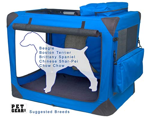 Pet Gear 3 Door Portable Soft Crate, Folds Compact for Travel in Seconds No Tools Required, Comes with Comfort Pad + Storage Bag, Steel Frame, Premium 600D Fabric, Indoor/Outdoor
