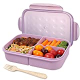 Kids Bento Box,Kids Children Lunch Box,3 Compartments Lunch Containers for Kids,Leakproof Bento Box for Kids,Microwave/Freezer/Dishwasher Safe (Flatware Included) (Purple)