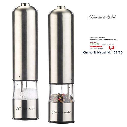 Rosenstein & Söhne Elektrische Mühle: Elektrische Salz- /Pfeffermühle mit Keramik-Mahlwerk, 22,5 cm, 2er-Set (Peffermühle)