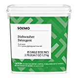 Amazon Brand - Solimo Dishwasher Detergent Pacs, Fresh Scent, 85 Count (Health and Beauty)