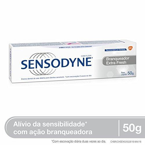 Creme Dental Branqueador Extra Fresh para Dentes Sensíveis, Sensodyne, Branco, 50g