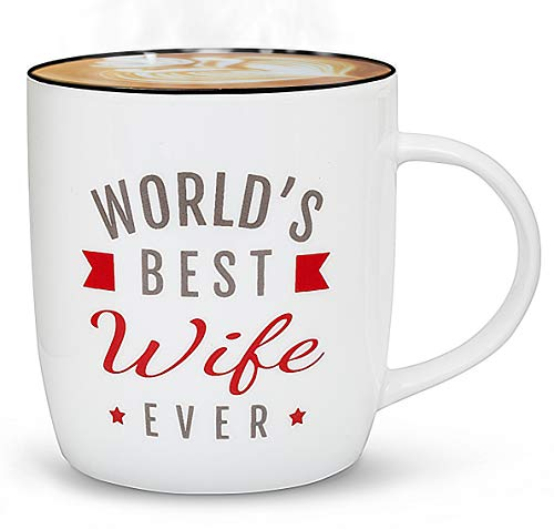 Triple Gifffted Worlds Best Wife Ever Mug For Greatest Women, Appreciation Gift, Romantic Birthday Gifts Ideas For Her From Husband, Anniversary, Valentines, Mothers Day Mugs, Christmas, Coffee Cup