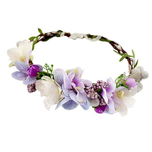 YAZILIND Corona Tocado Estilo Bohemio púrpura Flor Guirnald