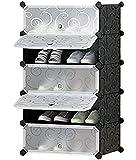 AYSIS DIY Shoe Rack Organizer/Multi-Purpose Plastic 5 Layers Portable and Folding Shoe Rack (Black)