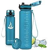 Baomay Borraccia Sportiva Bottiglia d'Acqua in Plastica con Filtro - 500ml Borracce per Bambini, Bici, Scuola Zaino, Palestra Sport | Tritan Senza-BPA & Prova di Perdite (Sea Glass)