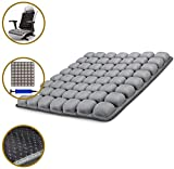 SUNFICON Inflatable Air Seat Cushions Portable Breathable Comfort Cushion Car Seat Office Chair Wheelchair Pad Orthopedics Pain Pressure Relief Cushion Camping Seat Mat 18'' x 16'' Grey